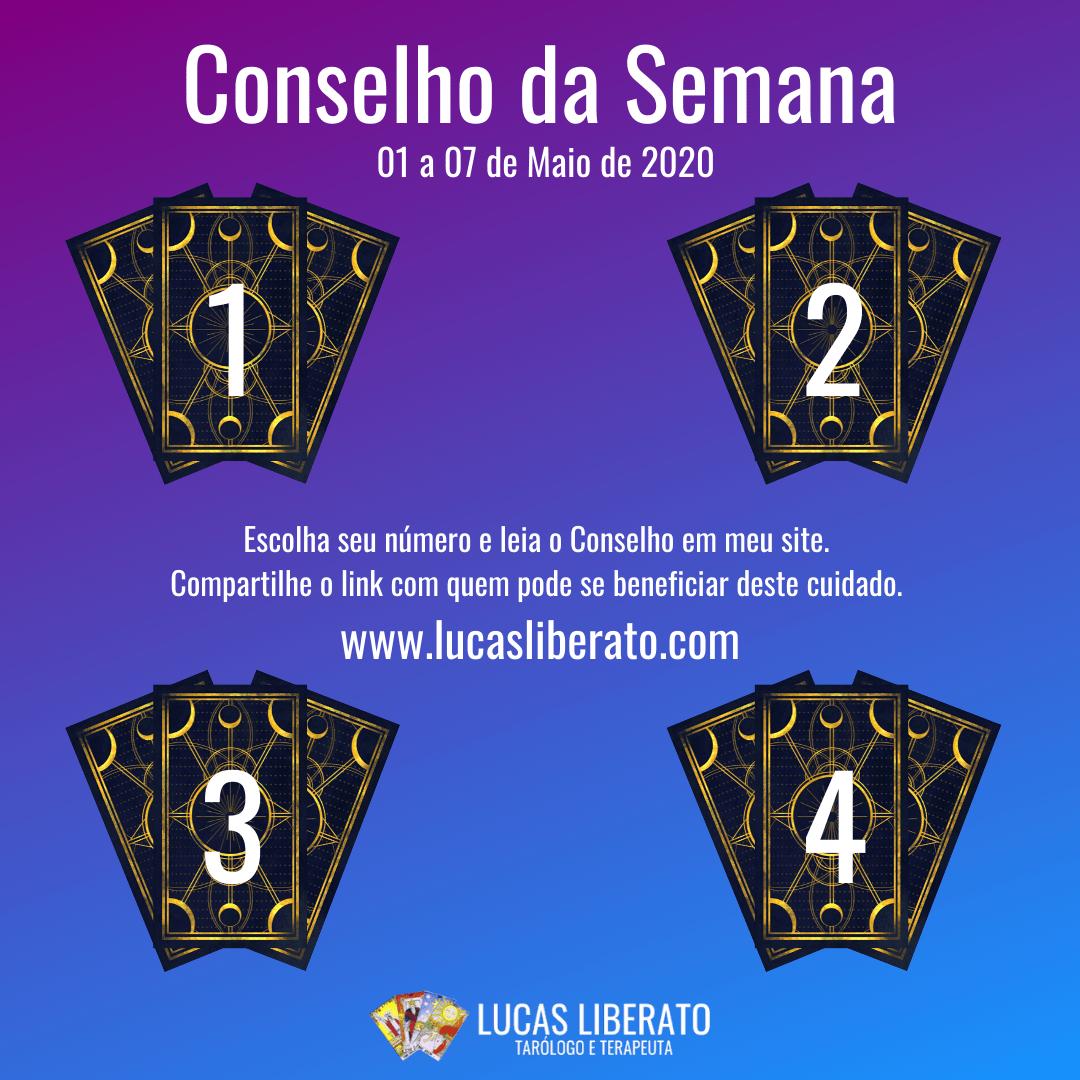 Conselho de Tarot da Semana de 01 a 07 de Maio de 2020, quatro conjuntos de três cartas de Tarot viradas, com números de 1 a 4 na frente sobre um fundo degradê em lilás e azul.