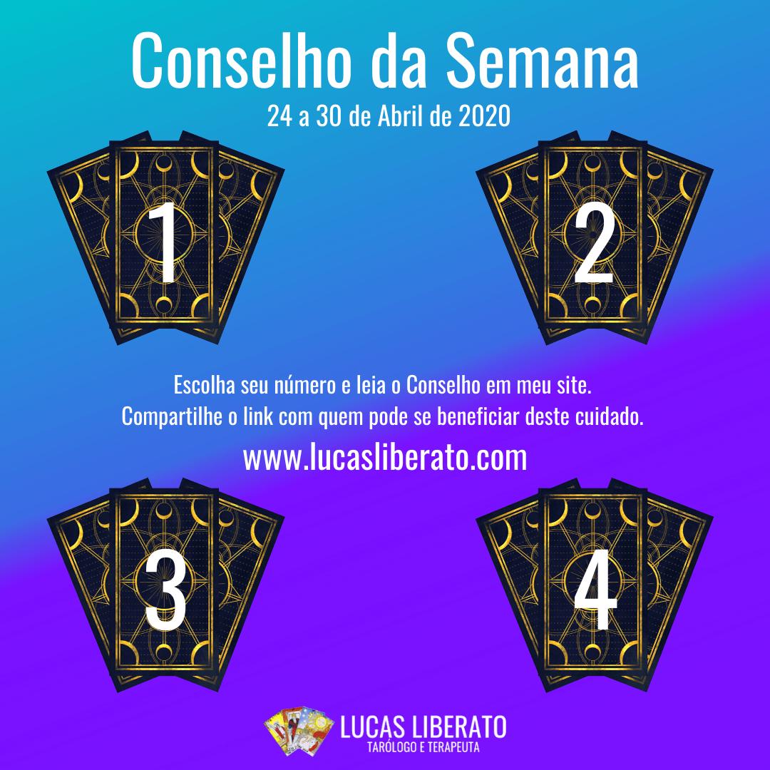 Conselho de Tarot da Semana de 24 a 30 de Abril de 2020, quatro conjuntos de três cartas de Tarot viradas, com números de 1 a 4 na frente sobre um fundo degradê em azul e roxo.
