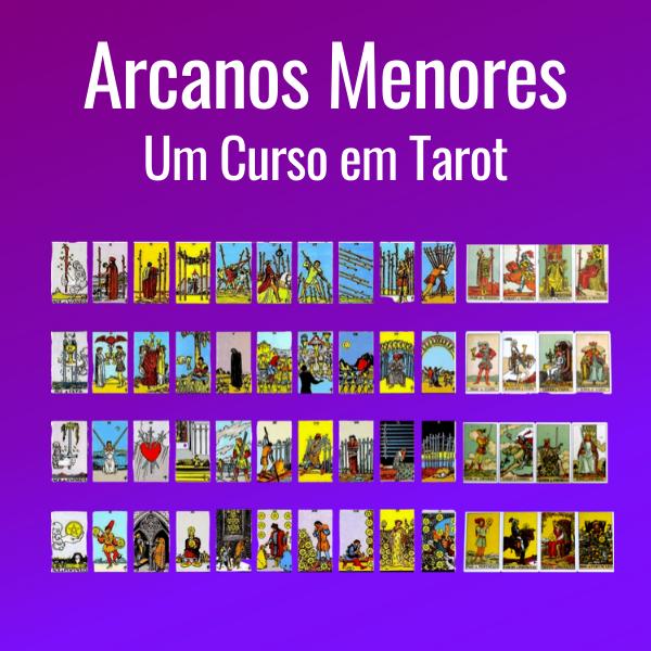 Capa do Curso de Arcanos Menores do Tarot, com o título do curso e imagens das 56 cartas, em um fundo roxo degradê.