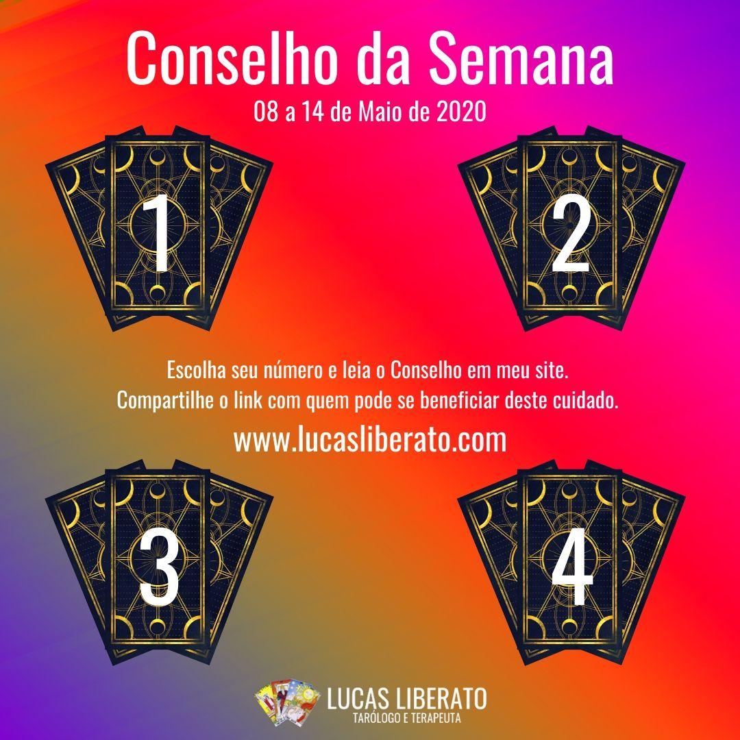 Imagem do Conselho da Semana do Tarot, de 08 a 14 de Maio de 2020, com quatro grupos de três cartas viradas, numerados de 1 a 4, sobre um fundo degradê roxo, amarelo e rosa.
